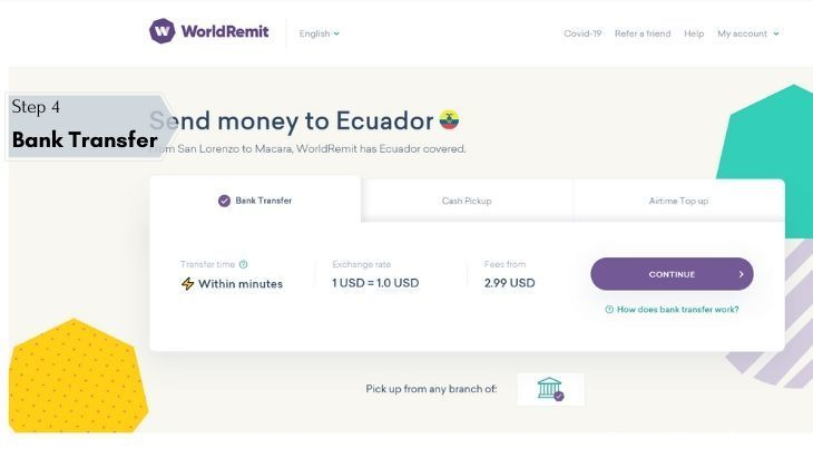 Ecuador WorldRemit - Step 4 - Bank Transfer