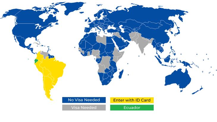 Ecuador Visa Free Countries Map
