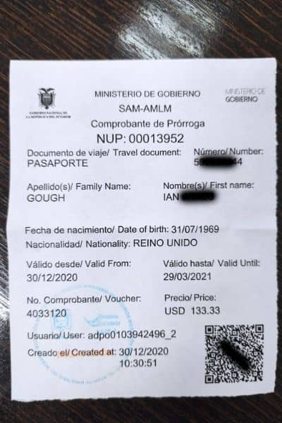Visa Extension Ecuador Receipt