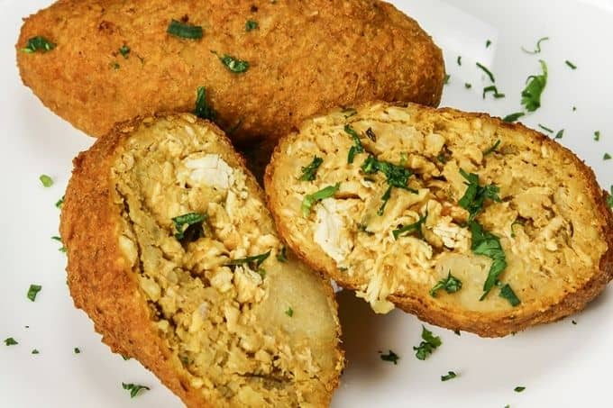 Corviche with fish and cheese